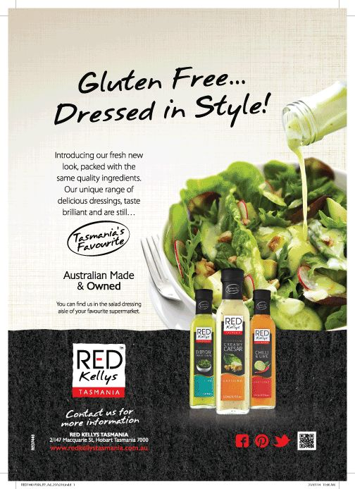 Hot off the press! We're excited to announce that Red Kellys Tasmania is featured in Yum.Gluten Free, an online magazine celebrating all things gluten free: http://goo.gl/jK3rMX Thumbs up if you agree that our dressings 'dress up' your gluten free meal!