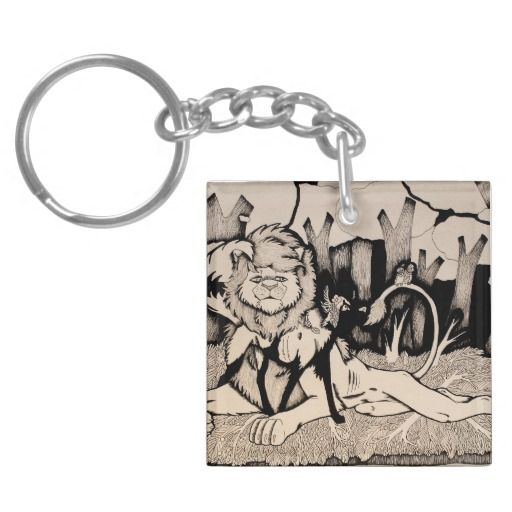 """Waiting for Daylight"" Black and white illustrated lion and african wild dog Keychain"