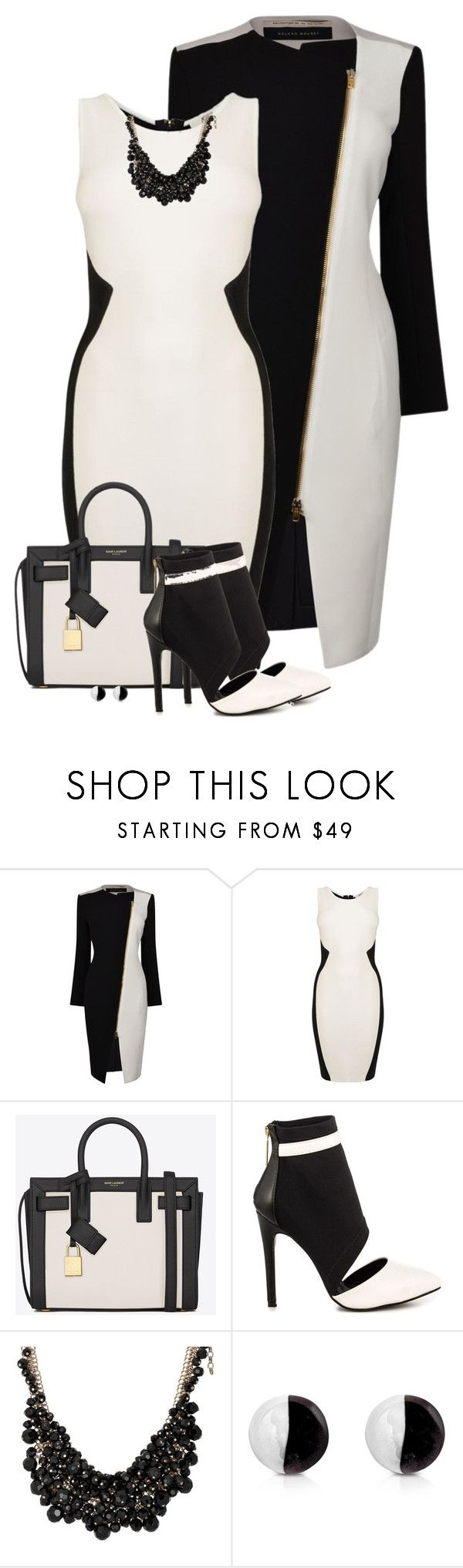"""Black and white"" by barbarapoole ❤ liked on Polyvore featuring Roland Mouret, GUESS by Marciano, Yves Saint Laurent, Liliana, sweet deluxe and Antica Murrina"
