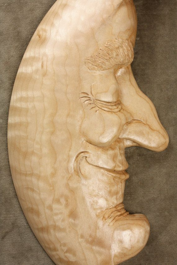 Moon Man Wood Carving, Birthday Gift Wall Art, Anniversary for Him carved by Gary Burns the Treewiz, Ooak Wedding Gift Handmade in Oregon. A Whimsical Celestial Creation that would make anyone happy. He has a peaceful spirit. He loves his place in the Solar System and encourages Loving thoughts. He believes that our thoughts are what we are. To be loving, forgiving and accepting are always in his intentions. I carved him out of Quilted Big Leaf Maple.This piece is very tight grained curly…