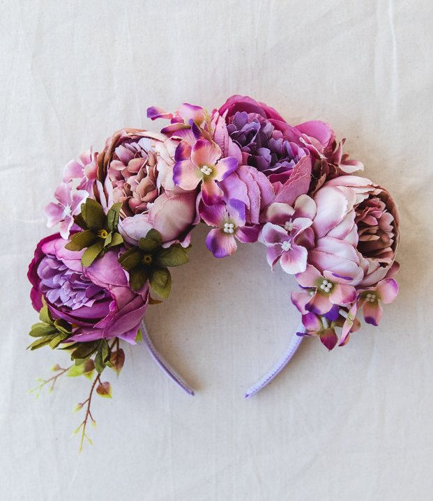 purple spring racing flower crown fascinator // statement floral headpiece headband, races melbourne cup, carnival, wedding, flowers