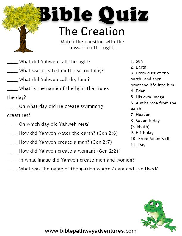 Free Bible Quiz for Kids: The Creation | Bible quiz, Bible ...