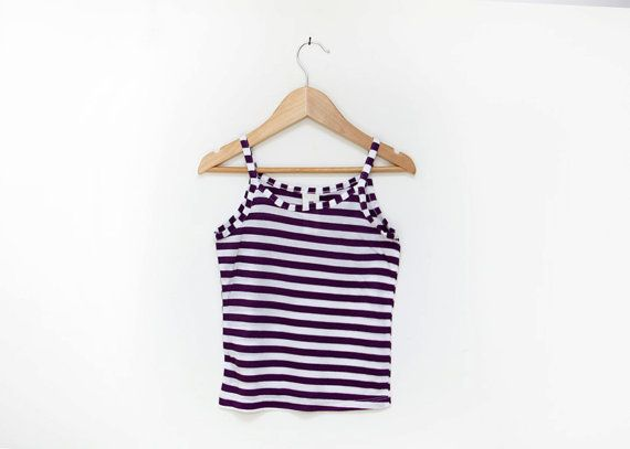 Girls summer top purple and white stripes little Girl by nukile, $12.00