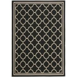 Poolside Black/ Beige Indoor Outdoor Rug (6'7 x 9'6) | Overstock.com Shopping - Great Deals on Safavieh 5x8 - 6x9 Rugs