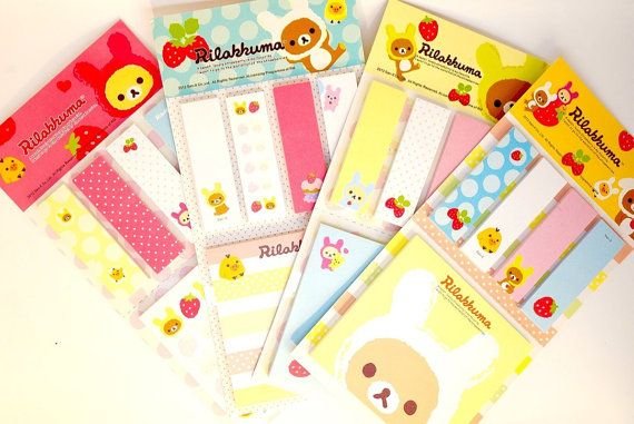 Kawaii RILAKKUMA cute bookmark sticky notes by MyChildhoodDream