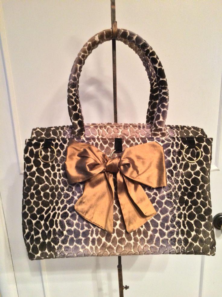 Leopart velvet carpet bag ,silk bow.