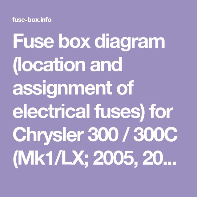 Fuse Box Diagram Location And Assignment Of Electrical Fuses For Chrysler 300 300c Mk1 Lx 2005 2006 2007 2008 2009 In 2020 Mk1 Electrical Fuse Chrysler 300