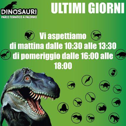 Vi aspettiamo per trascorrere gli ultimi giorni insieme, a villa Lampedusa in via dei Quartieri 104 a Palermo, per tutte le info sui orari e costi visita il nostro sito www.dinosauripalermo.it