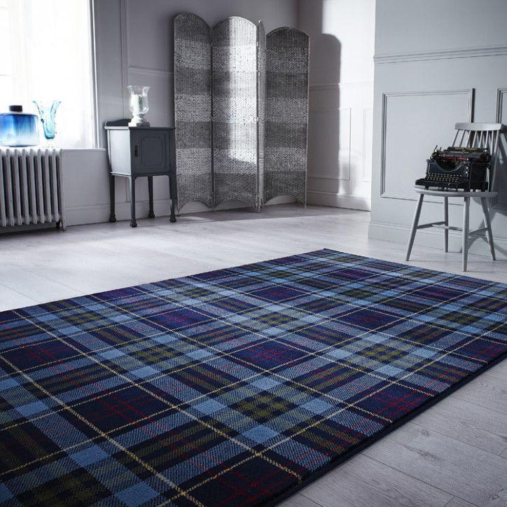 Blue Highland Tartan Rug Inverness Tartan Decor Tartan Carpet Blue Rug
