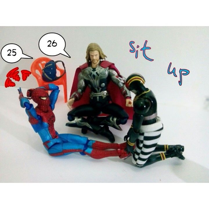 Sit up exercises.... Spiderman, thor and black