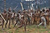 Ukázka bojových tanců kmene Dani. Festival Wamena Papua Nová Guinea