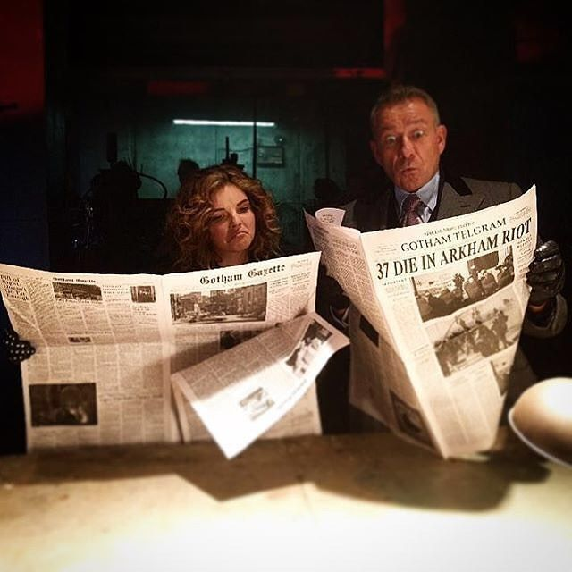 #Gotham is always in the news. : @seanpertwee #BehindTheScenes #SetLife