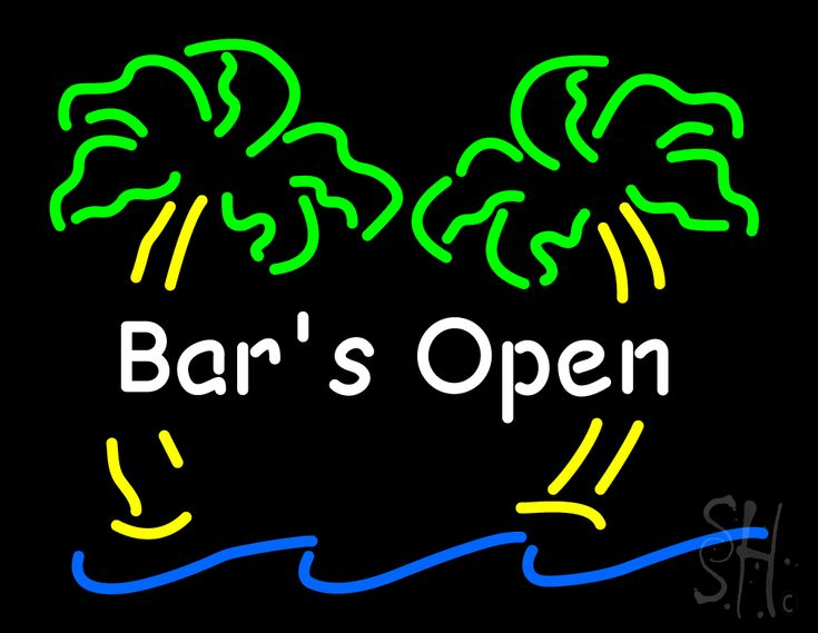 Bar Open with Two Palm Tree Neon Sign 24 Tall x 31 Wide x 3 Deep, is 100% Handcrafted with Real Glass Tube Neon Sign. !!! Made in USA !!!  Colors on the sign are Green, Yellow, White and Blue. Bar Open with Two Palm Tree Neon Sign is high impact, eye catching, real glass tube neon sign. This characteristic glow can attract customers like nothing else, virtually burning your identity into the minds of potential and future customers.