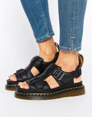 Dr Martens Hayden Grunge Black Leather T-Bar Flat Sandals
