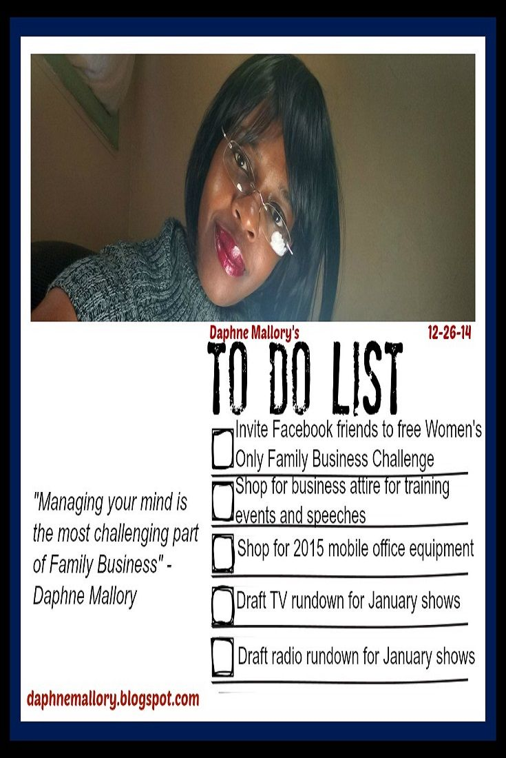 Daphne Mallory's 12-26-14 To-Do List