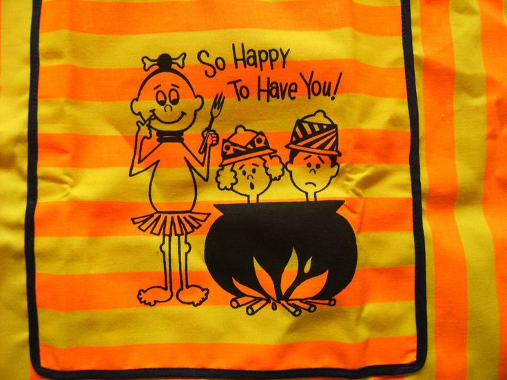 vintage 60s novelty apron full  'so happy to have you' neon orange & yellow