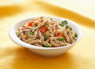 Eating healthy meals with the family is important to us. This Fusilli Creamy Greek Pasta Salad is perfect for making meals unforgettable. #tistheseason #pasta