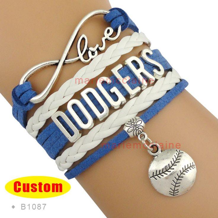 (10 Pieces/Lot) High Quality MLB Los Angeles Dodgers Baseball Bracelet Dodger Blue White