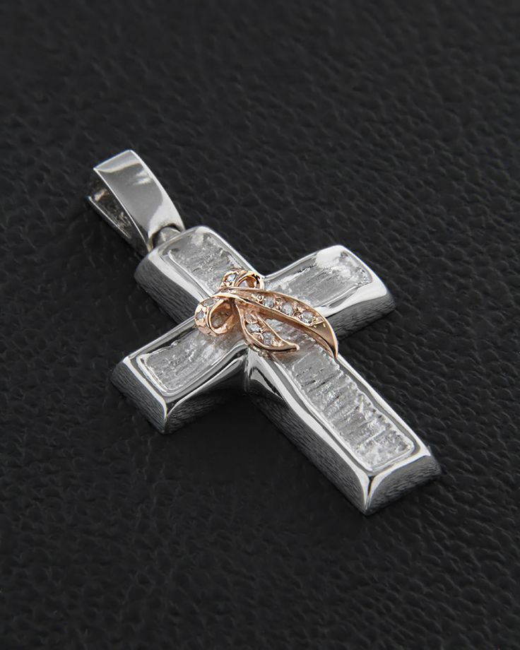 Βαπτιστικός σταυρός λευκόχρυσος & ροζ χρυσός Κ14 με Ζιργκόν