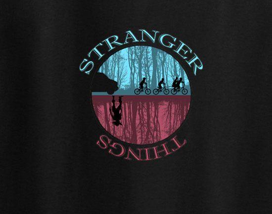 Stranger Things Netflix Sihoulette ET alien 80s Dustin Tee T-shirt