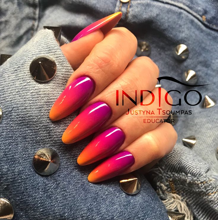 Ombre nails Indigo Nails Neon summer nails art