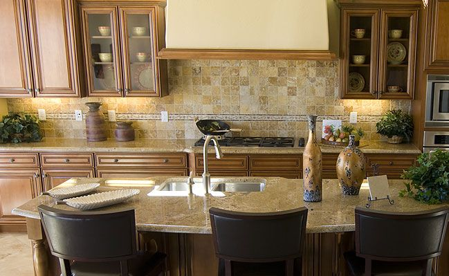 Overall Color Scheme Look 3x3 Travertine Mosaic Backsplash Tile Great Countertops And Wood