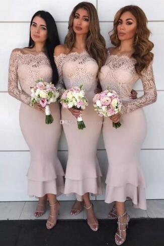 982678ce590e Bridesmaid Dresses 2018 Blush Pink Country Off Shoulder Beach Wedding Party Guest  Dresses Arabic Junior Maid