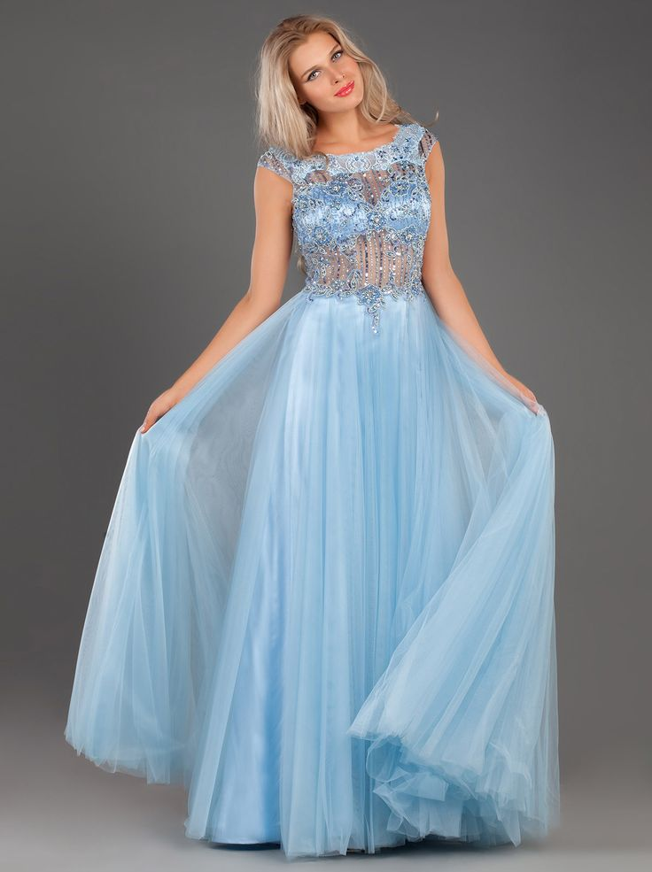 Fairytale Long Evening Tulle Dress with Lace Applique and Beading... http://mikael.gr/en/new-collection/94103.html""