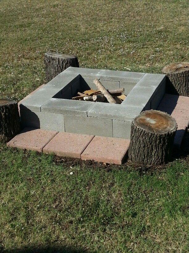 Easy Movable Diy Fire Pit 8 Cinder Blocks 1 45 Ea 8 Cement
