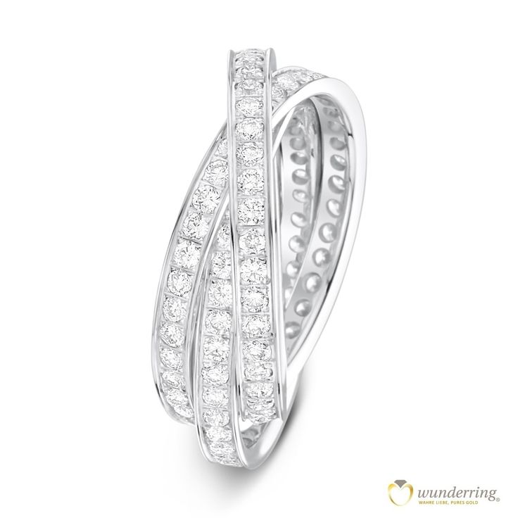 Exklusiver ineinander verschlungener Diamantring besetzt mit 144 Diamanten. Jetzt als Musterrring testen! #Weißgoldring #Ehering #Trauring #Luxus