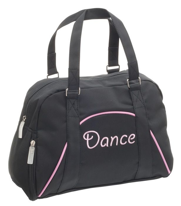 Capezio B46C Childrens Black Dance Bag. Dance embroidery and piping trim on a bowling style dance bag and comes with a clip on toy mouse. A great gift for children and dancers. Price £12.50 at www.dancinginthestreet.com #dancinginthestreet