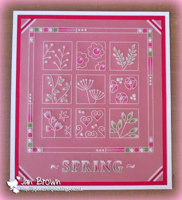 Meadow grass plate and lace border Groovi card created by Jan Brown