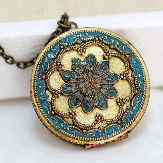 Locket, turquoise blue locket,filigree locket necklace,resin locket,photo locket , brass locket - vintage brass filigree turquoise, by emmagemshop