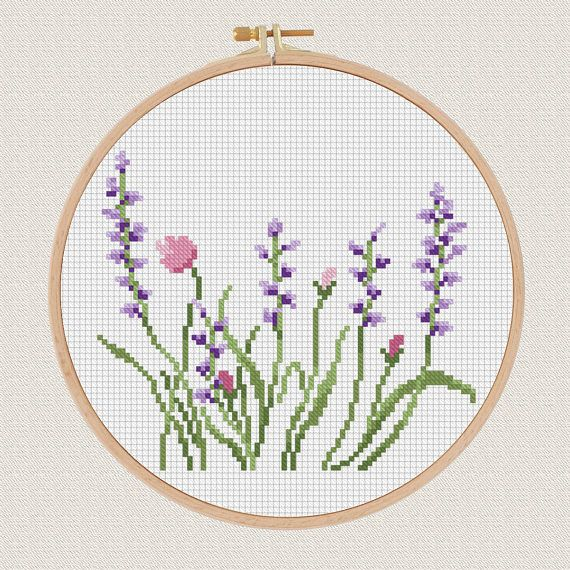 Flowers Cross Stitch pattern Lavender Helleborus floral Cross
