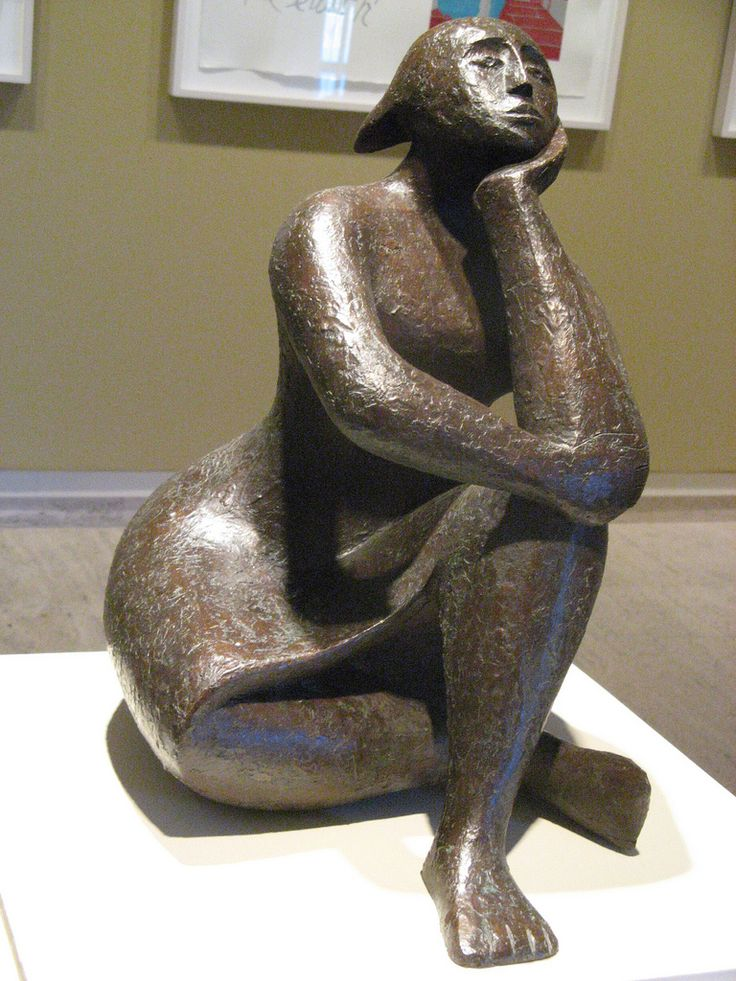 """Pensive Figure,"" bronze sculpture by Elizabeth Catlett 1968"