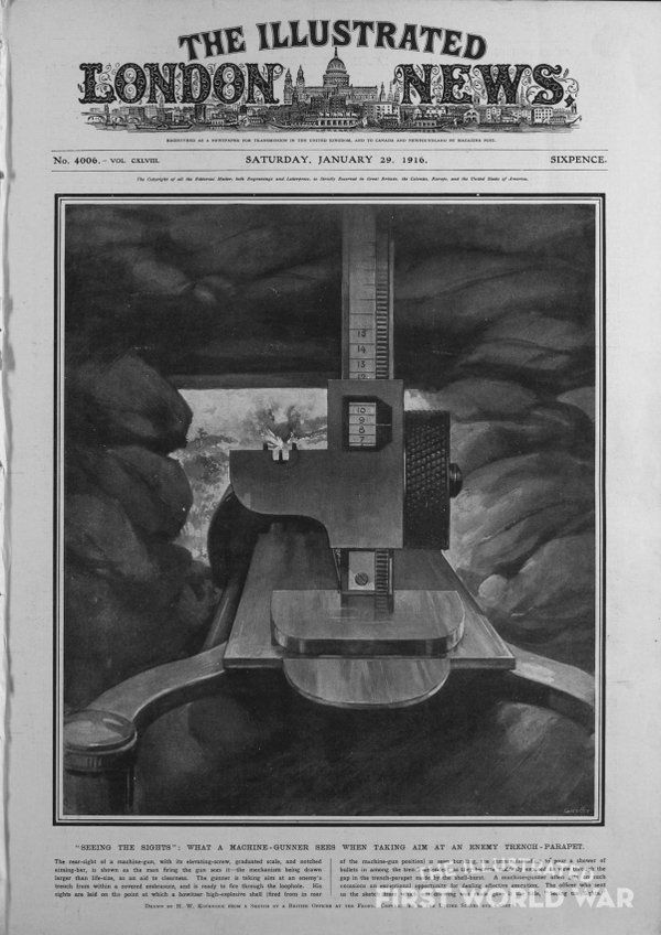 """WWI covered live on Twitter: """"Jan, 29 1916 Illustrated London News - What a Machine-Gunner Sees When Taking Aim https://t.co/11cZaR8eoz @Nordhues https://t.co/JnTqRs4dPg"""""""