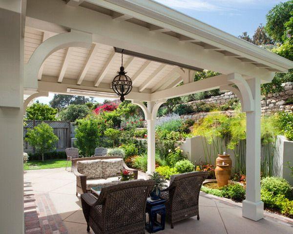 Красивый и уютный традиционный Белый Патио Крышка внешний дизайн