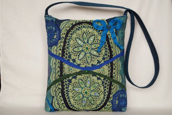 Green blue flower crocheted lace bag large size bag by bokrisztina