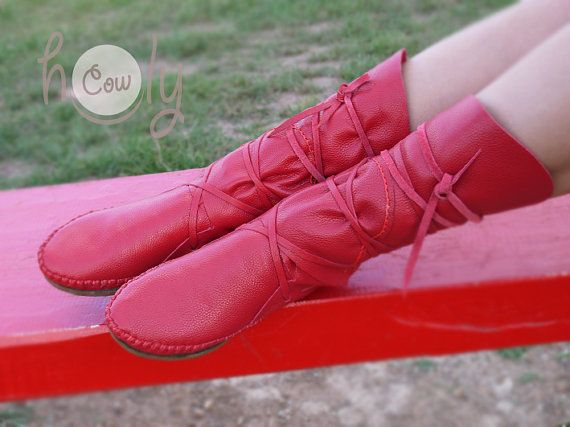 Moccasin, Red Moccasins, Moccasin Boots, Womens Moccasins, Leather Moccasins, Leather Boots, Mens Moccasins, Womens Boots, Red Leather Boots