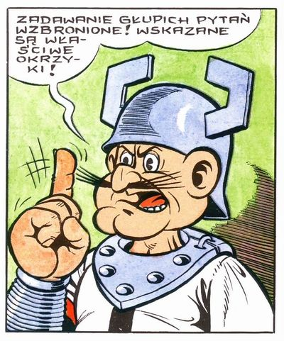'Asking stupid questions is forbidden! Appropriate cheers are indicated!'  Kajko and Kokosz comic