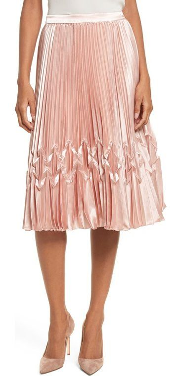 zigzag detail pleated midi skirt by Ted Baker. A section of origami-like folds within the satiny pleats add a captivating twist of texture to a ladylike A-line skirt. Style Name: Ted Baker London Zigzag Detail Pleated Midi Skirt. Style Number: 5508828. Available in stores. #tedbaker #skirts