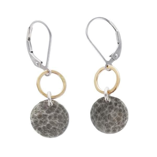 J & I 14k gold filled hoop with sterling silver hammered disc drop earrings. Designed by artisan Ian Gibson and handmade in the USA. Comes in Gift Box. #SterlingSilverHammered