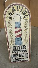 vtg wooden barber shop pole store advertising sign plaque,hair cut mustache sign