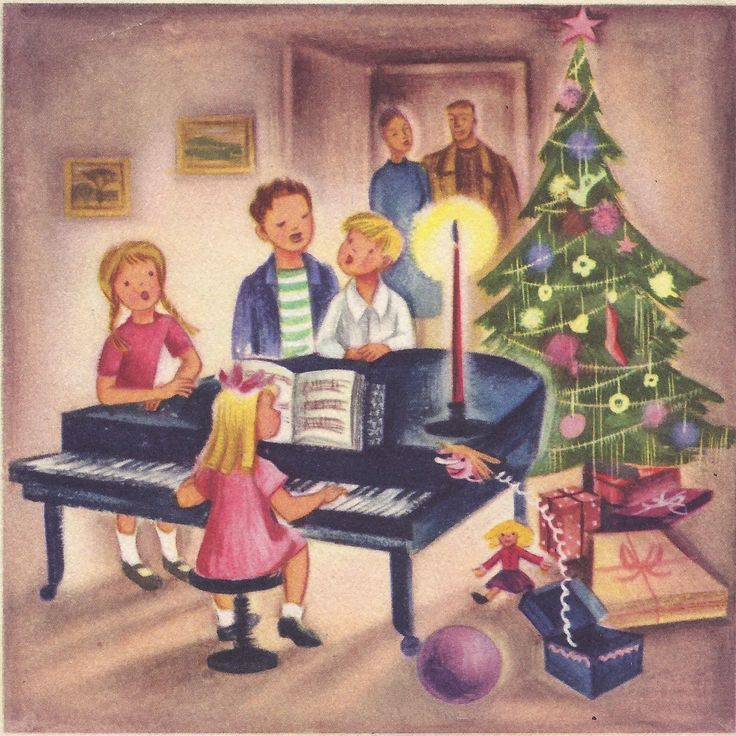 Christmas Carolers Singers Vintage Decorations By: Family Singing Carols Around The Piano.