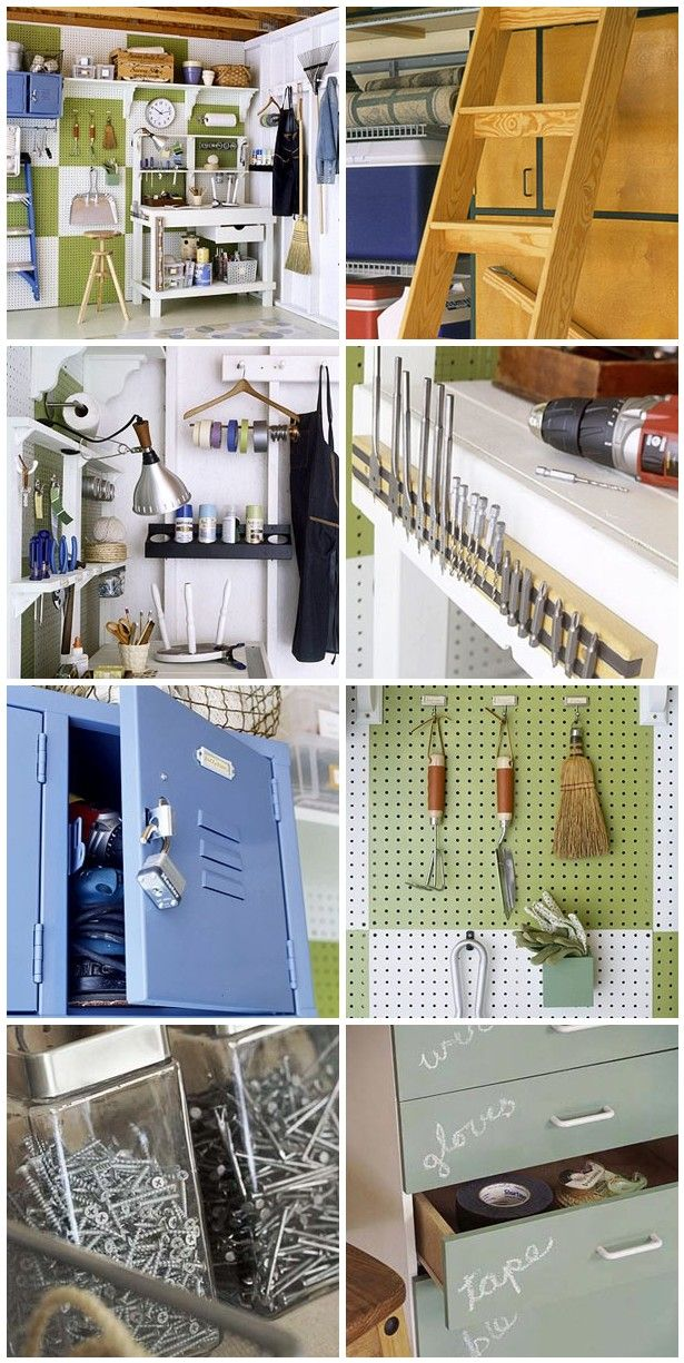 If I had a garage I'd have lots of projects to do. Tons of great ways to organize your garage here. Did not think a garage could be pretty. Haha!