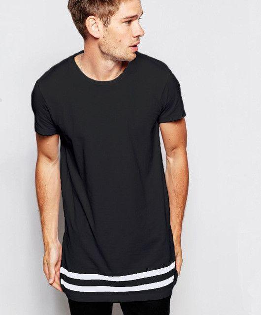 Streetwear Men t shirt extended longline hipster