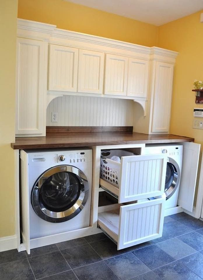 Pull out drawers for laundry baskets