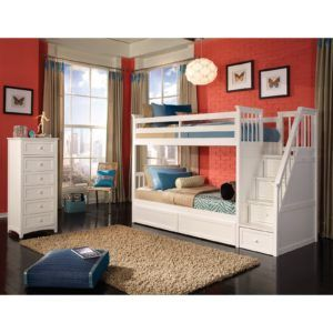 Bedroom. White wooden small bunk beds, red wall paint room decor, rectangle rugs bedroom. Smart plans for bunk beds with stairs.