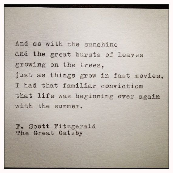 The Great Gatsby Quote Typed on Typewriter and Framed by farmnflea,