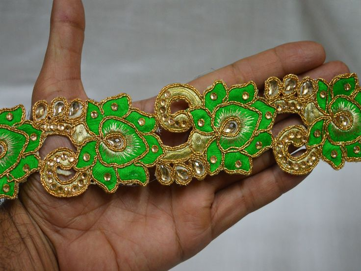 Green Saree Border Indian Sari Border Ribbon Gold Kundan Lace     You can purchase from below link or What's App no. is +91-9999684477. We also take wholesale inquiries.